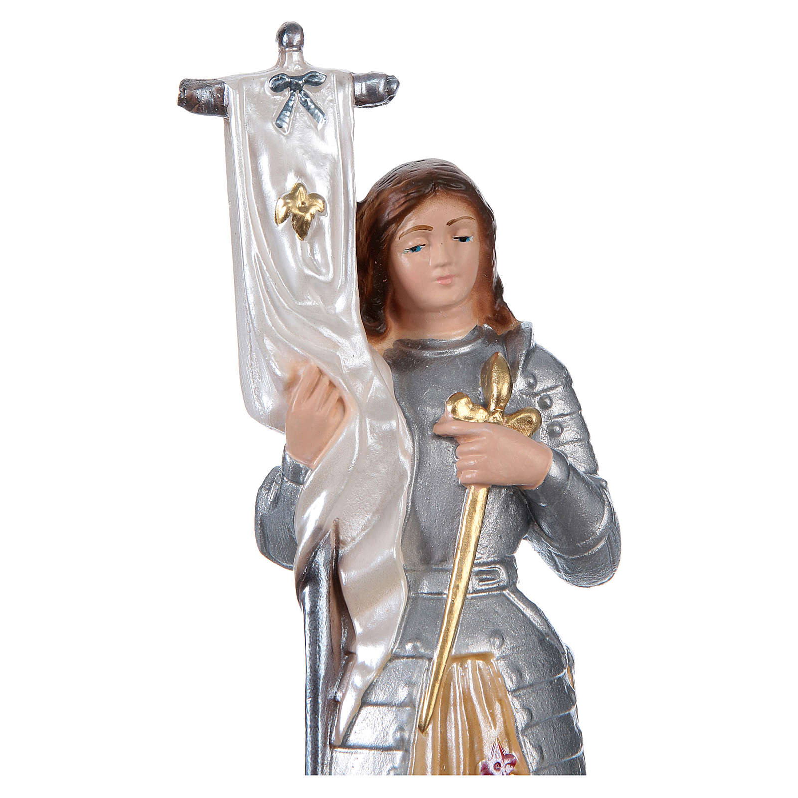 Saint Joan of Arc Statue, 25 cm in plaster with mother of pearl effect 4