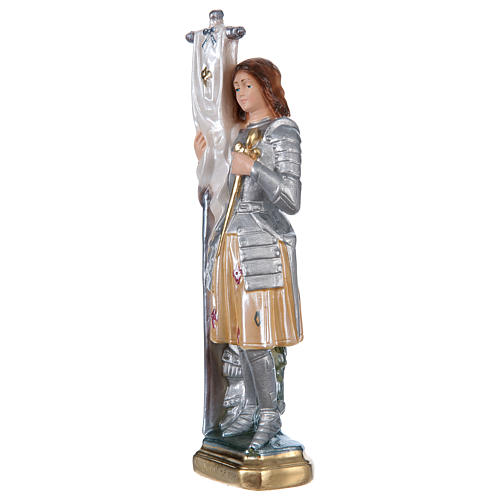 Saint Joan of Arc Statue, 25 cm in plaster with mother of pearl effect 3