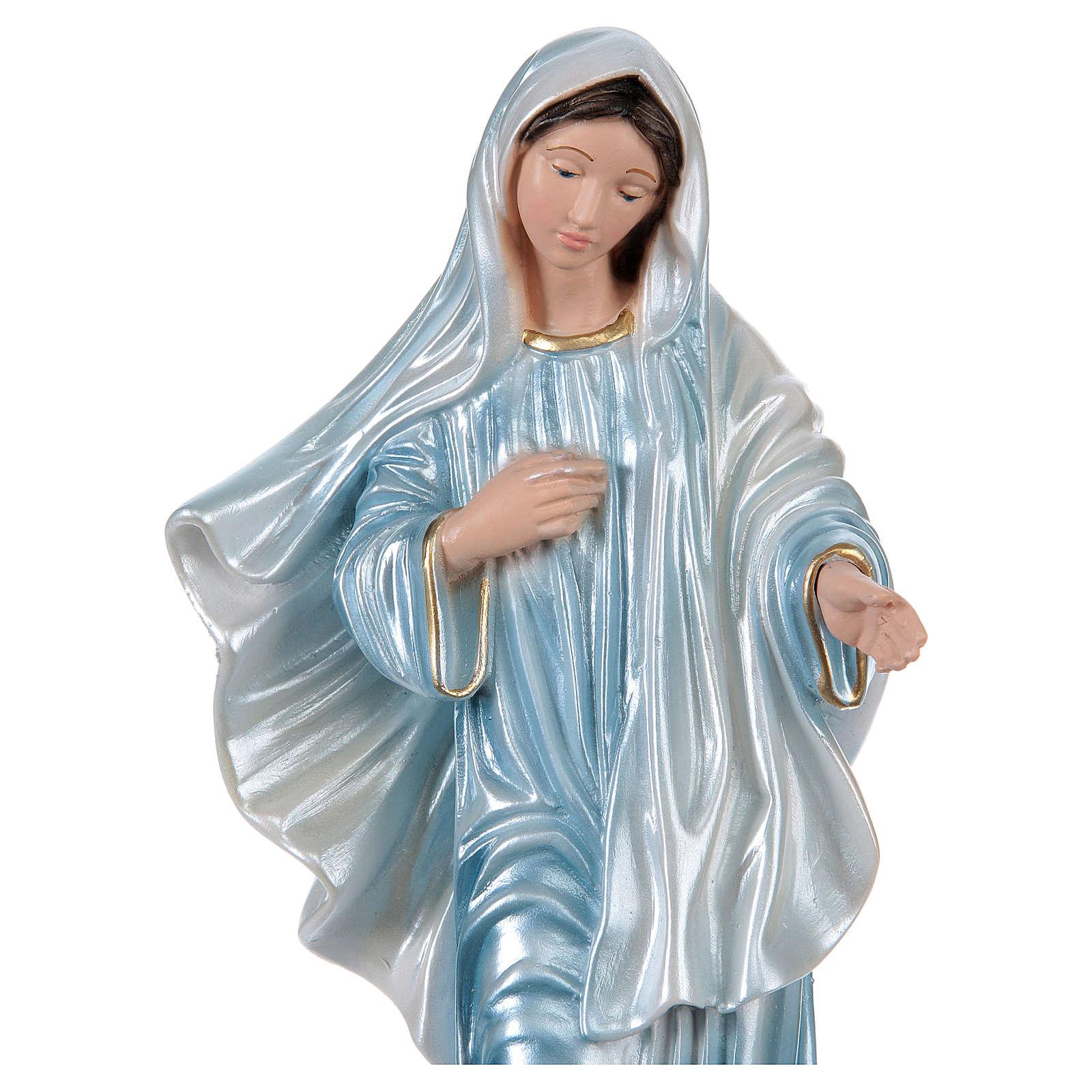 Estatua yeso nacarado Virgen de Medjugorje 35 cm 4