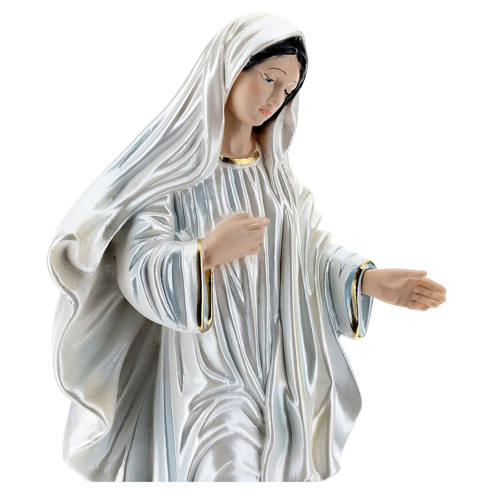 Statue of Our Lady of Medjugorje, 35 cm, in plaster with mother of pearl 4