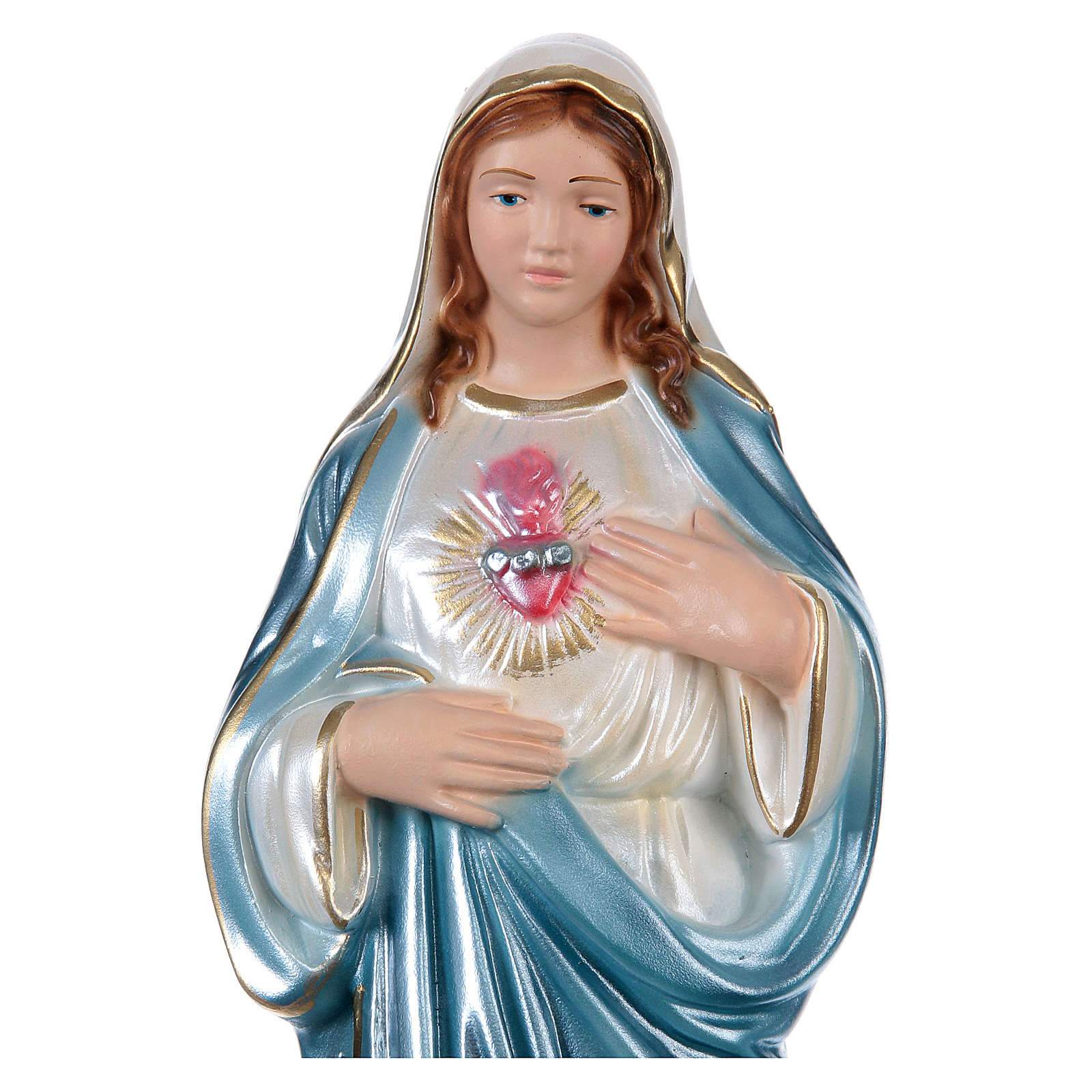 Mary Statue, 30 cm in plaster with mother of pearl 4