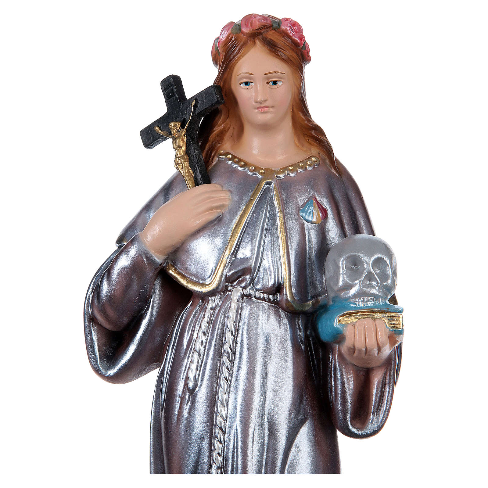 Saint Rosalia Plaster Statue, 30 cm in mother of pearl 4