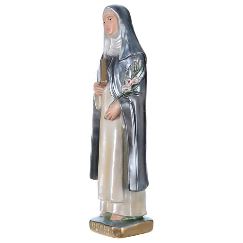 Estatua yeso nacarado Santa Caterina de Siena 30 cm 3