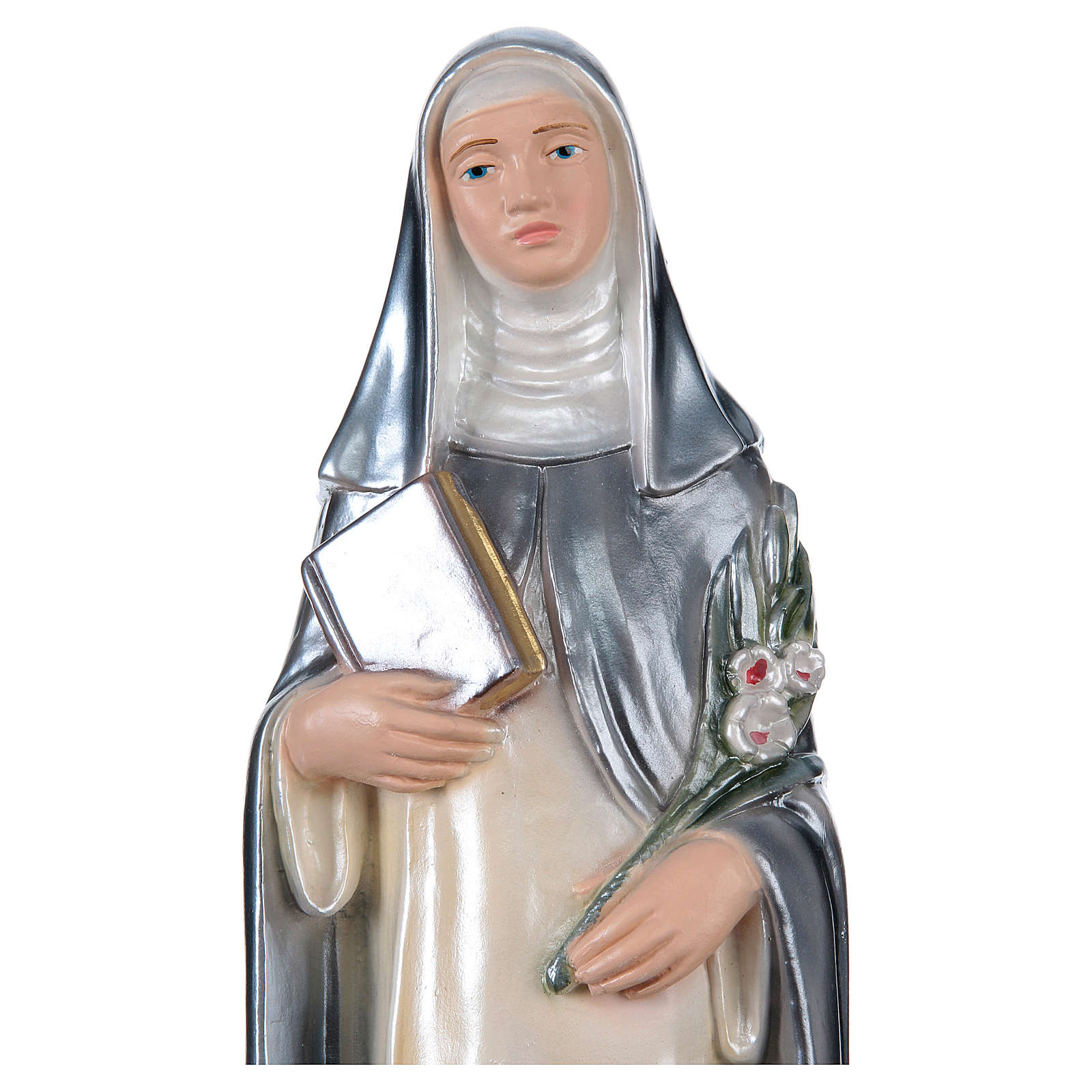 Saint Catherine of Seina Statue, 30 cm in plaster with mother of pearl 4