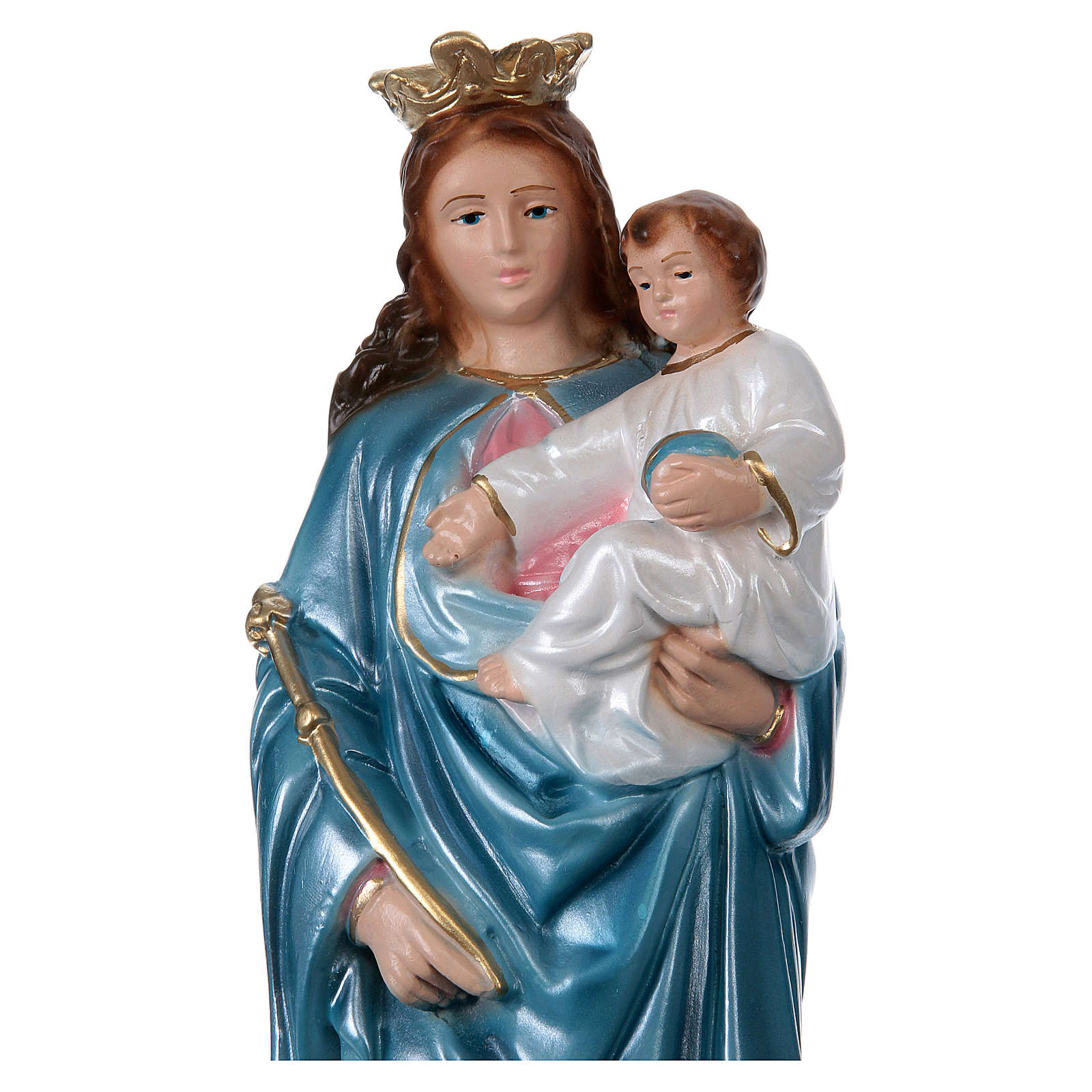 Our Lady of Help 30 cm in mother-of-pearl plaster 4