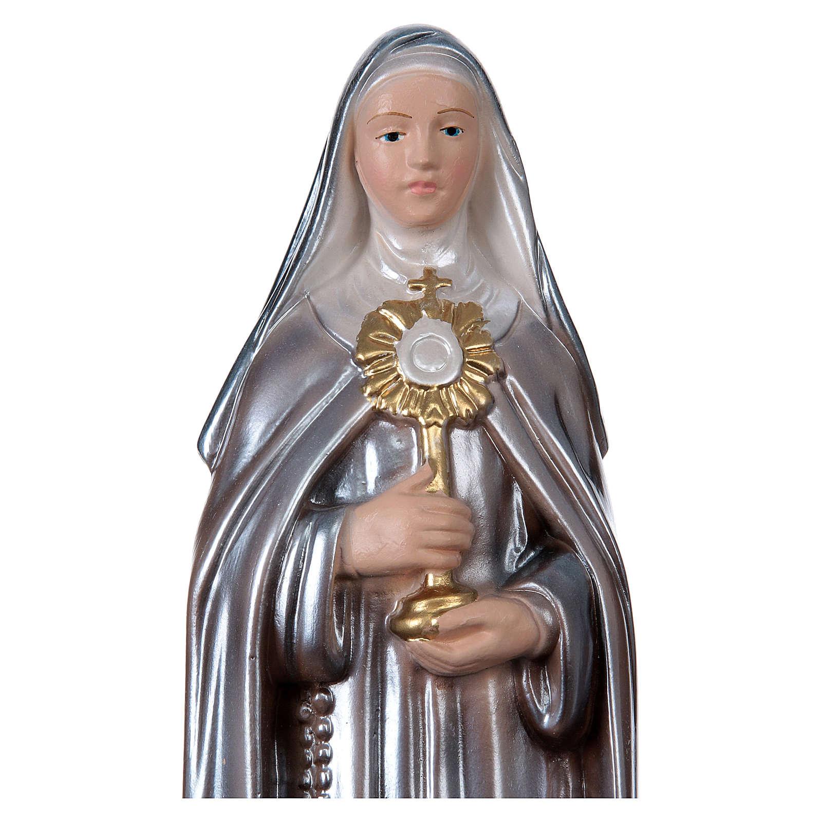 Statue Sainte Claire plâtre nacré 30 cm 4