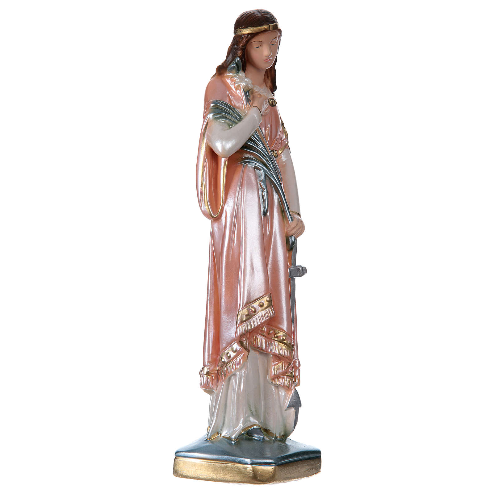 St Philomena 30 cm in mother-of-pearl plaster 4