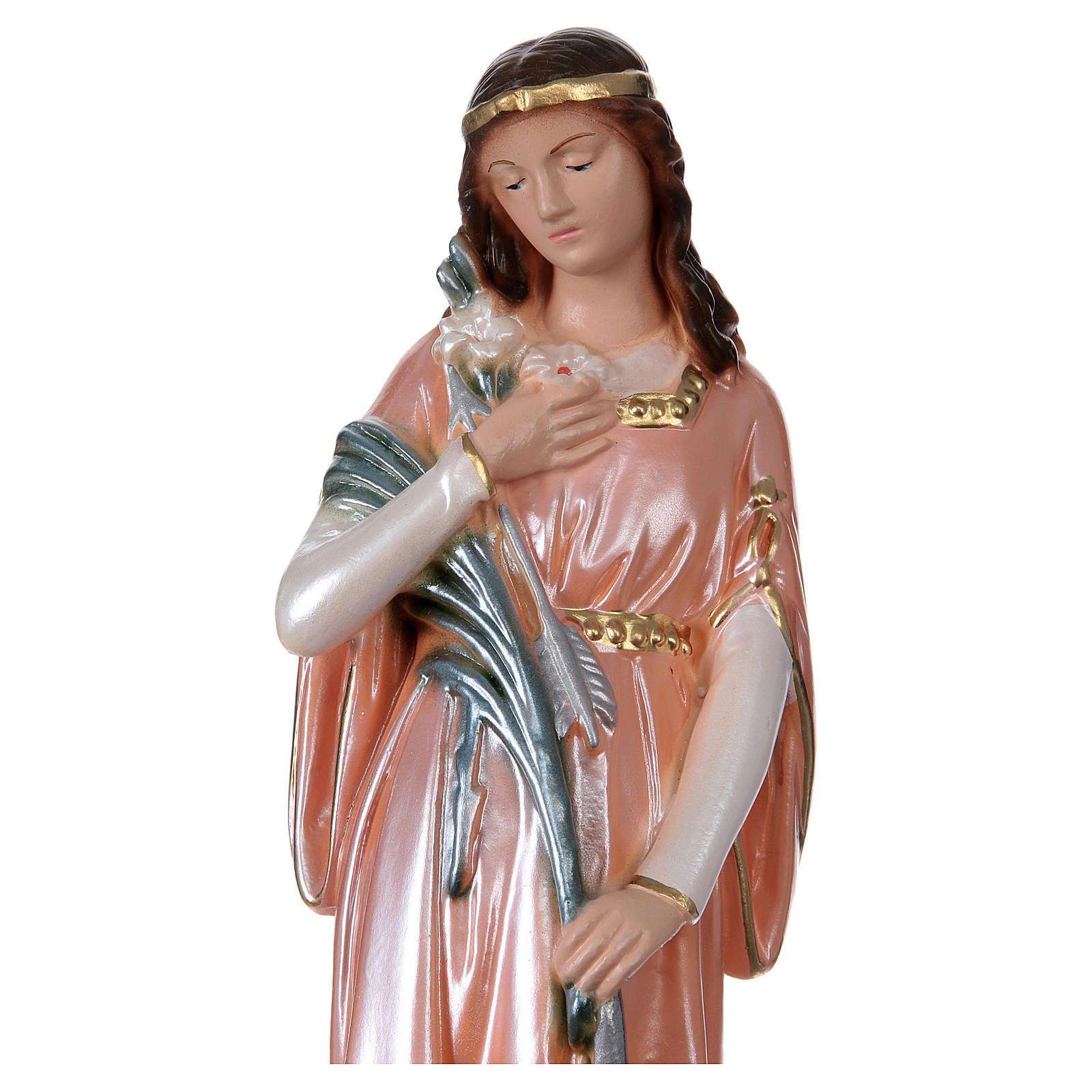 Statue Sainte Philomène plâtre nacré 30 cm 4