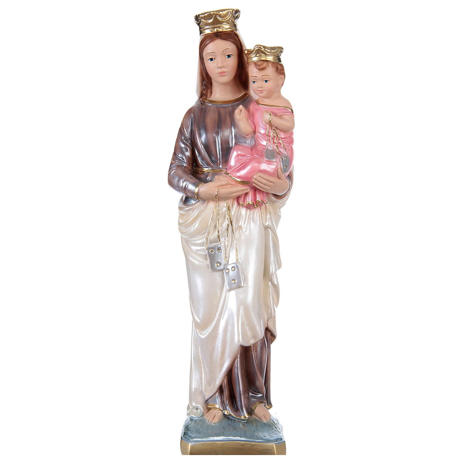 Our Lady of Mount Carmel Statue, 30 cm in plaster with mother of pearl effect 4