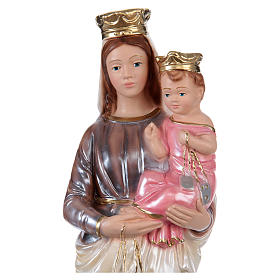 Our Lady of Mount Carmel Statue, 30 cm in plaster with mother of pearl effect s2