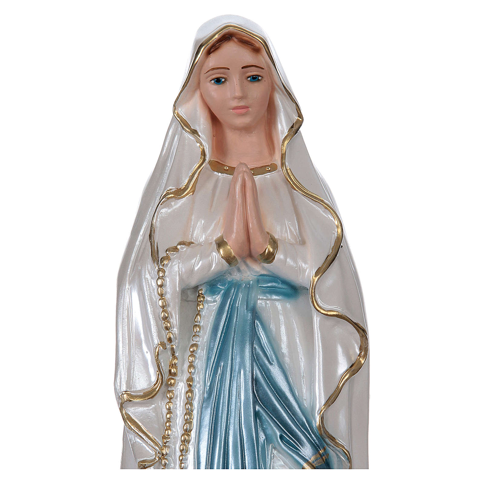 Our Lady of Lourdes, 30 cm in plaster with mother of pearl 4