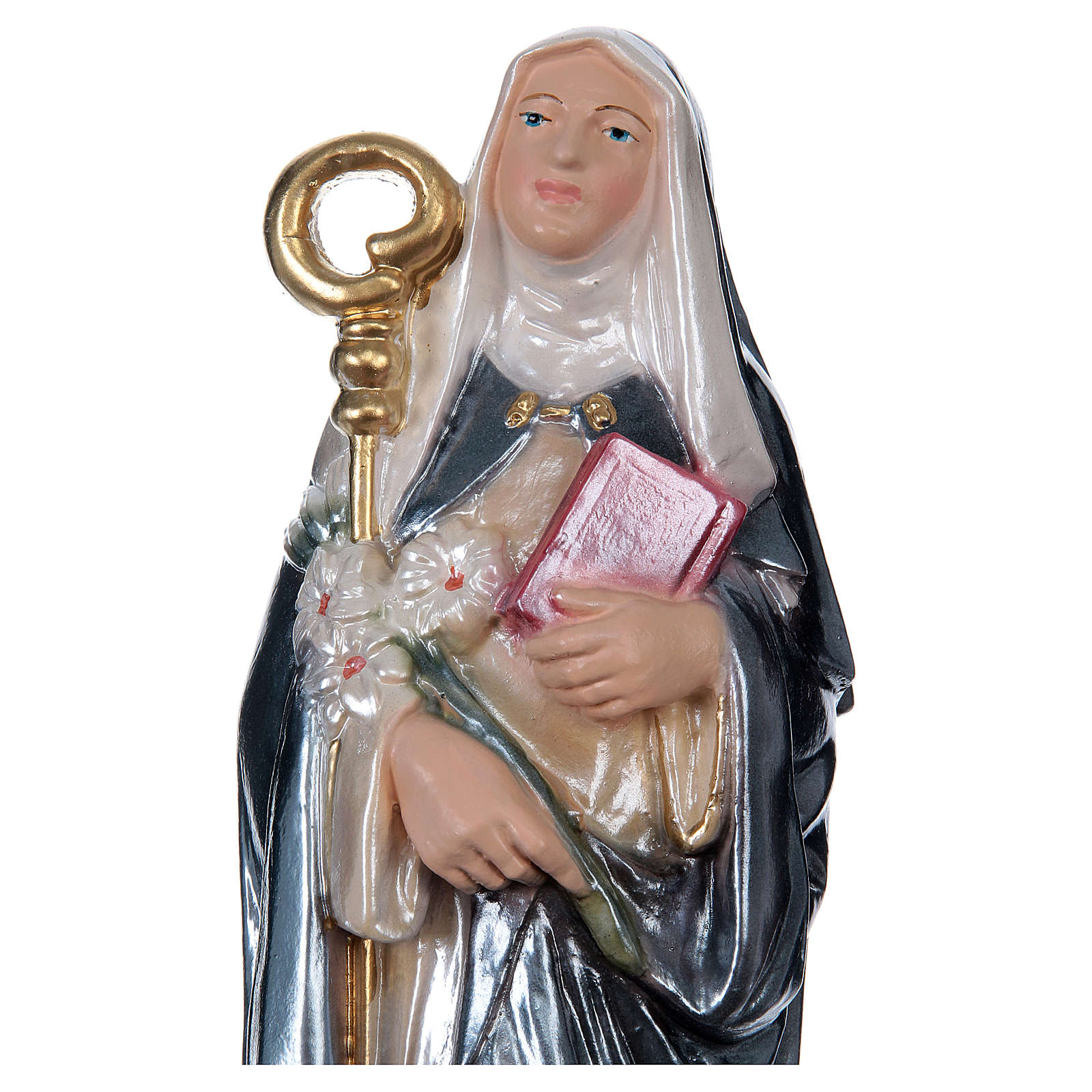 St Brigid 30 cm in mother-of-pearl plaster 4
