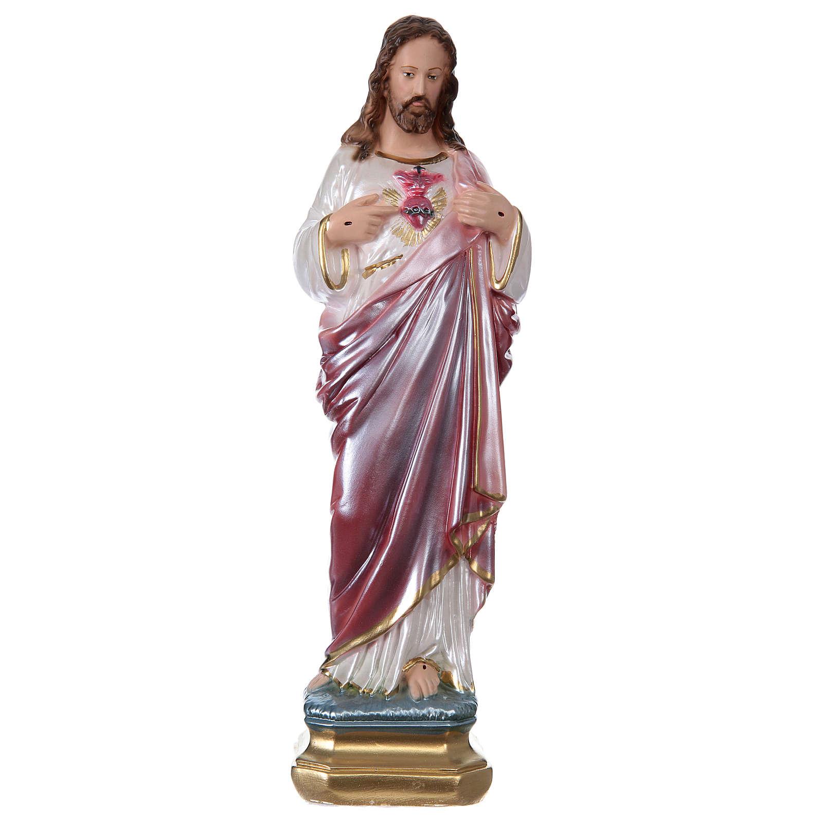 Sagrado Corazón de Jesús 30 cm yeso nacarado 4