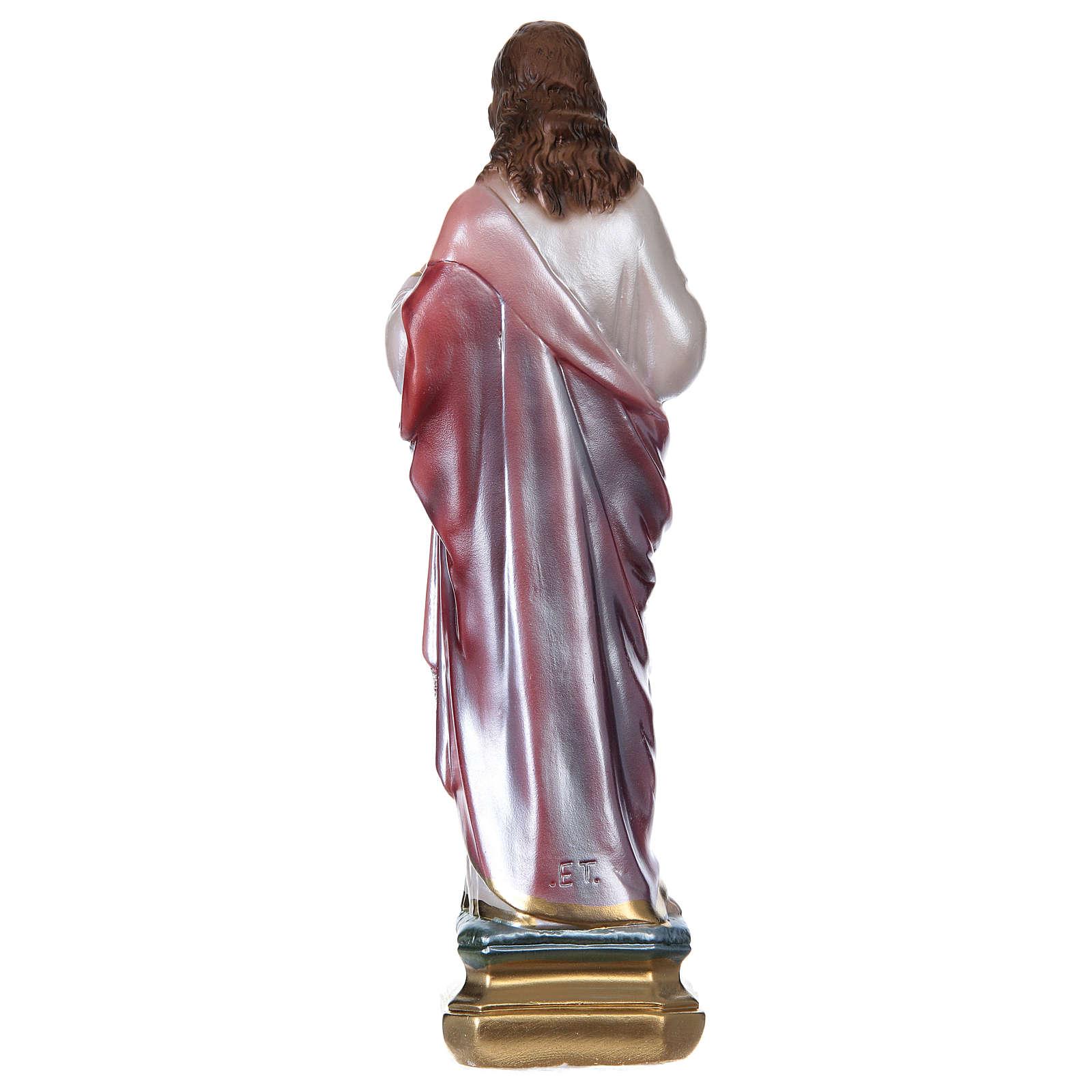 Sagrado Coração de Jesus 30 cm gesso efeito madrepérola 4