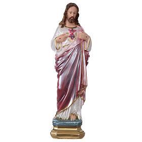 Imagens em Gesso: Sagrado Coração de Jesus 30 cm gesso efeito madrepérola