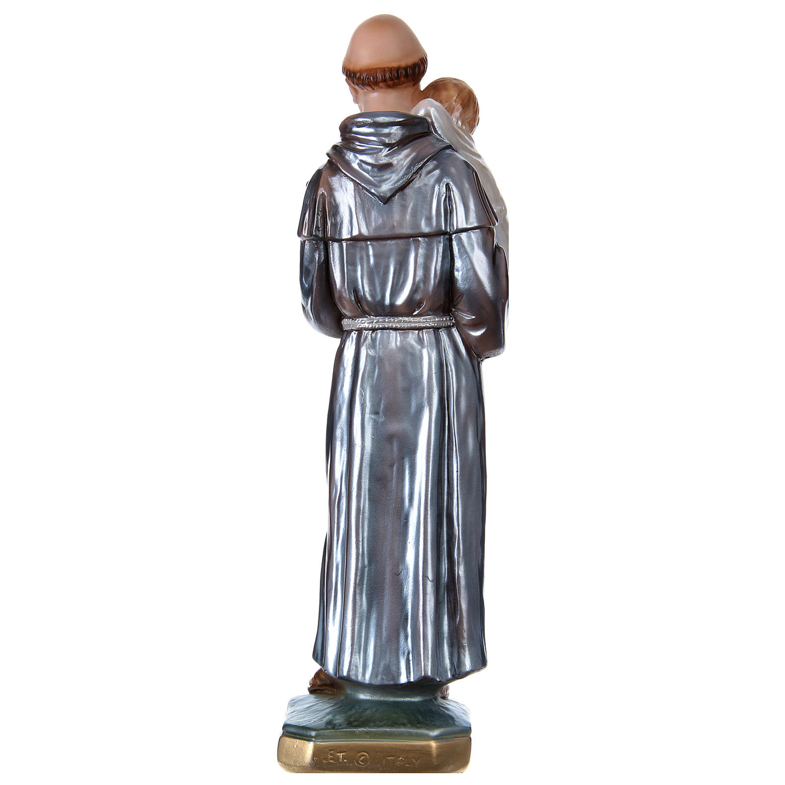 Saint Anthony with the Child Statue, 30 cm in plaster with mother of pearl 4