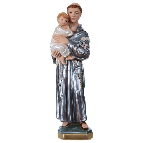 Saint Anthony with the Child Statue, 30 cm in plaster with mother of pearl 1