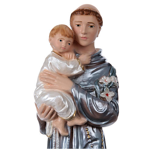 Saint Anthony with the Child Statue, 30 cm in plaster with mother of pearl 2