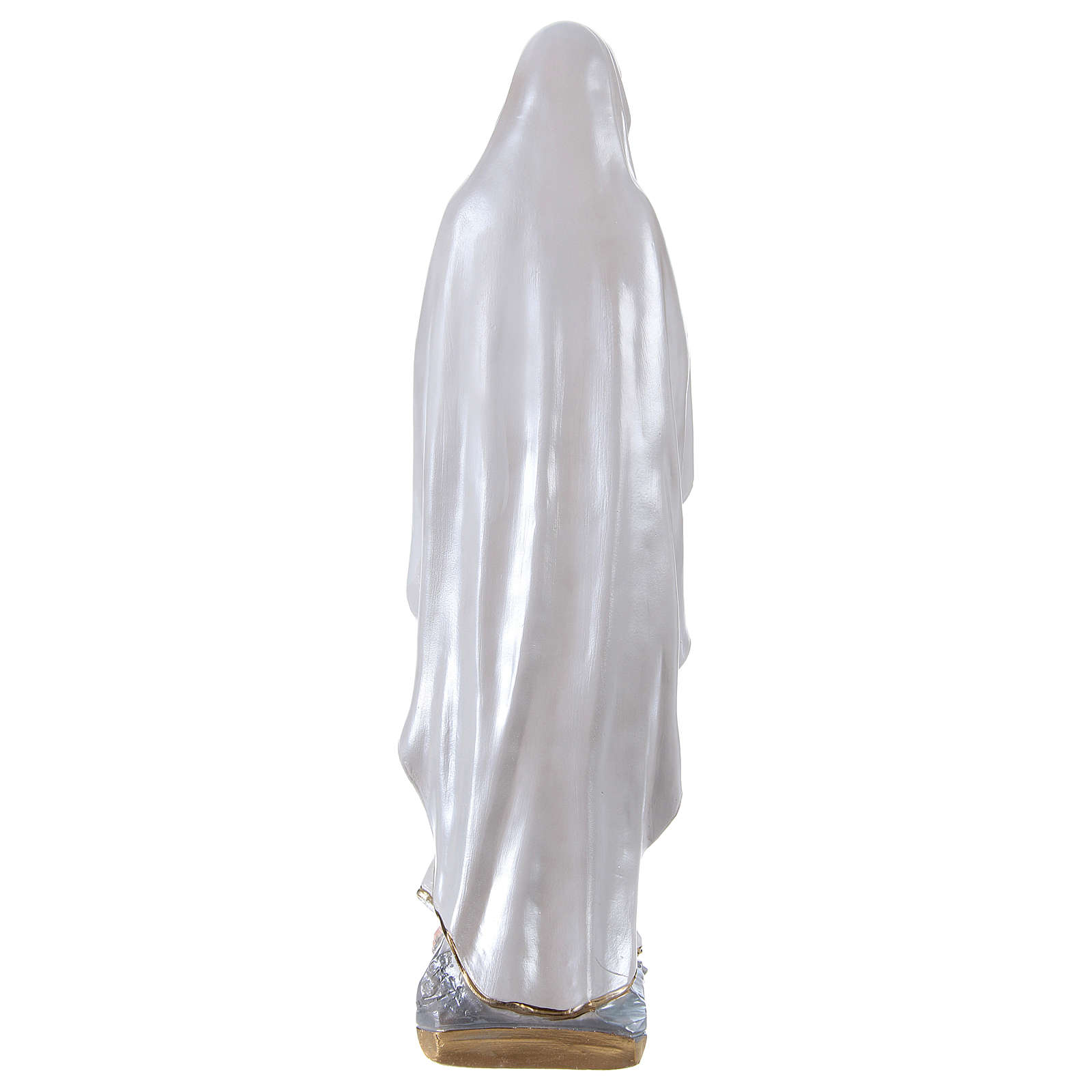 Madonna of Lourdes, 50 cm in plaster with mother of pearl 4