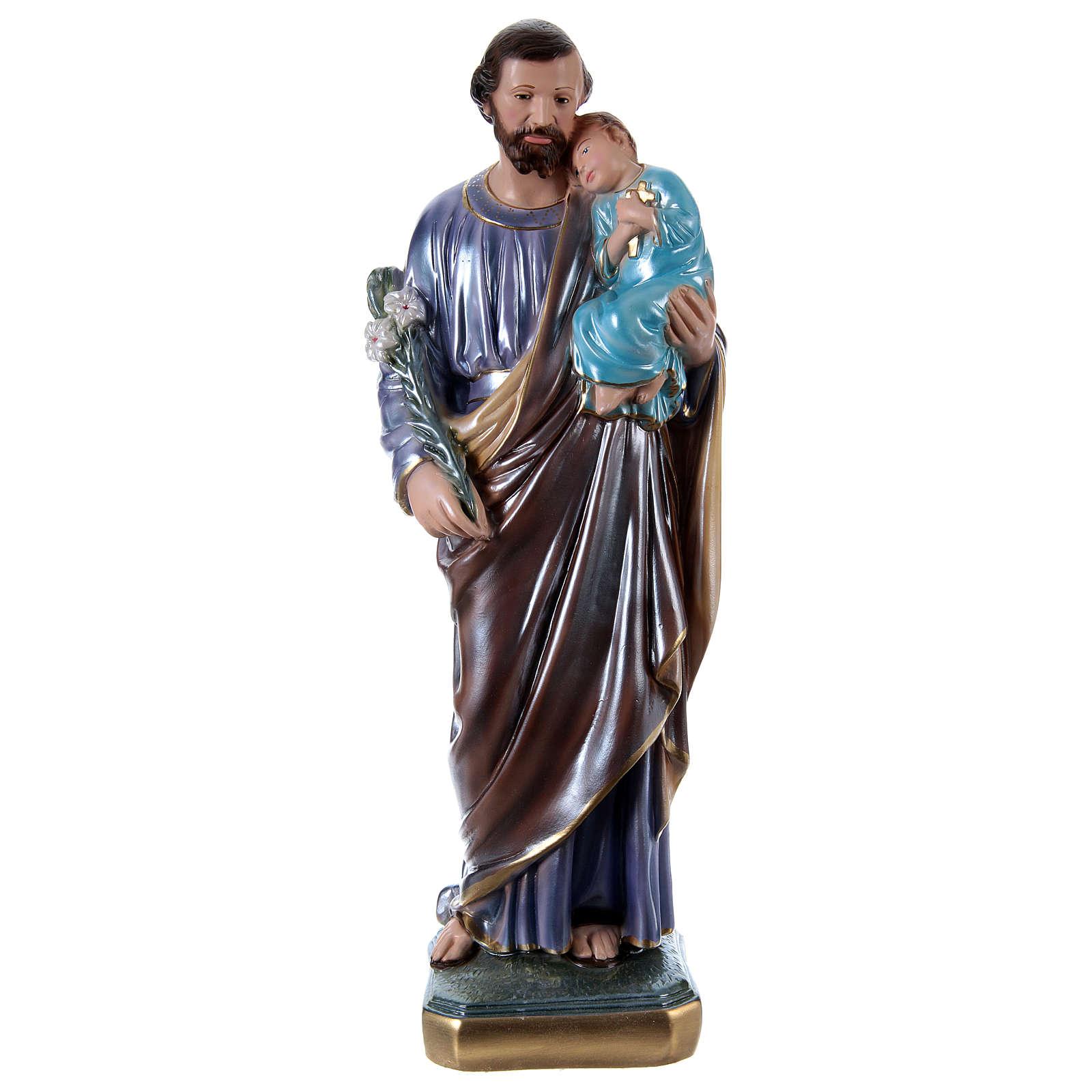 Heiliger Josef mit Kind 50cm perlmuttartigen Gips 4