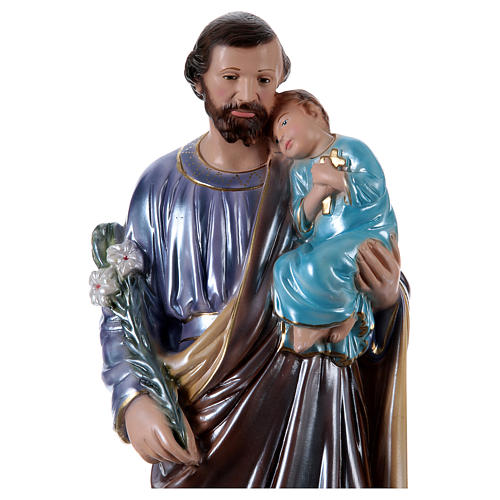 Saint Joseph Holding Child Statue, 50 cm in plaster with mother of pearl 2