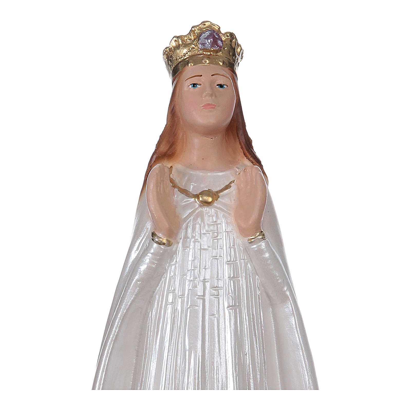 Our Lady of Knock statue in pearlized plaster, 20 cm 4