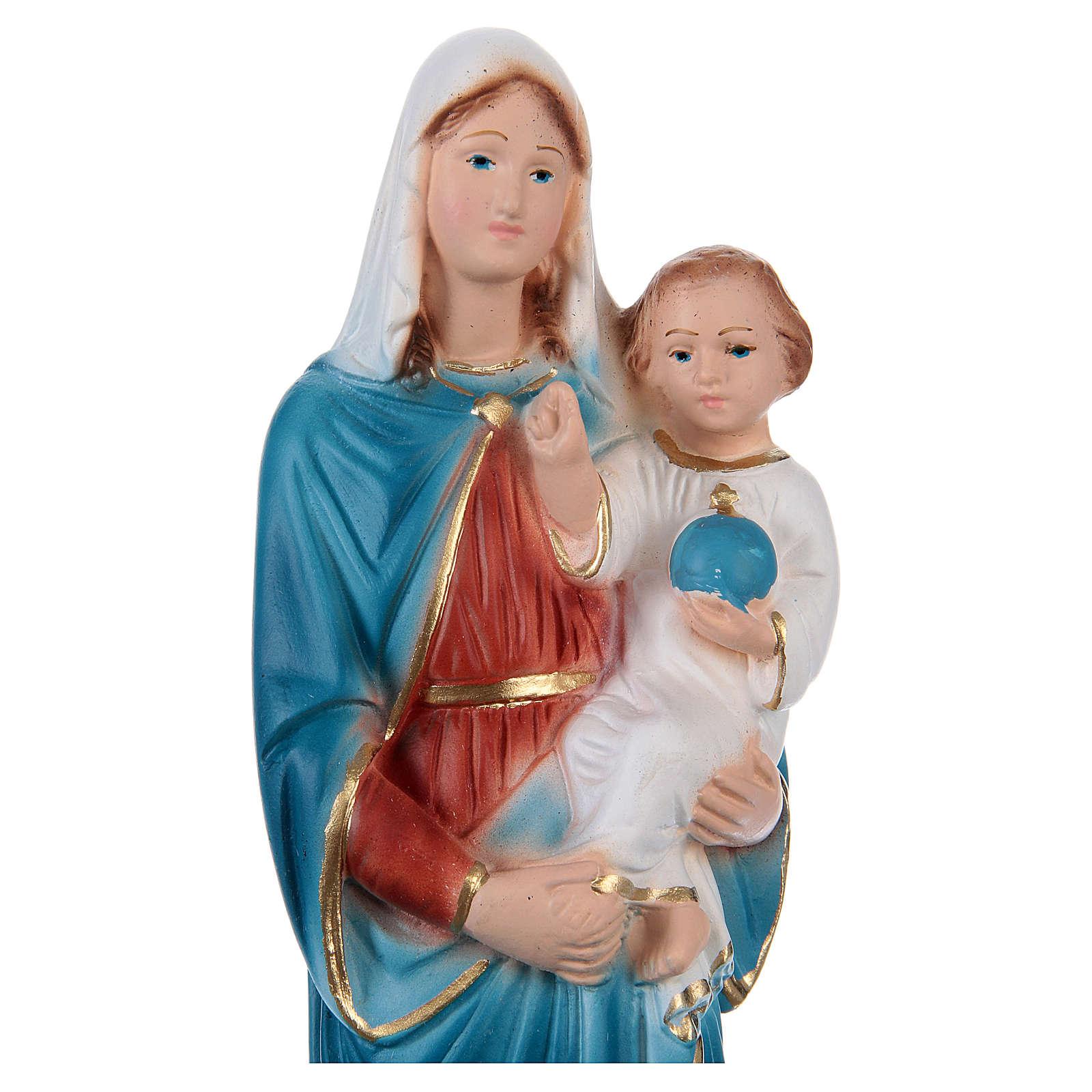 Vierge à l'Enfant plâtre 20 cm 4