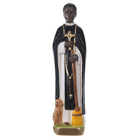Estatua de yeso pintado San Martín de Porres 20 cm s1