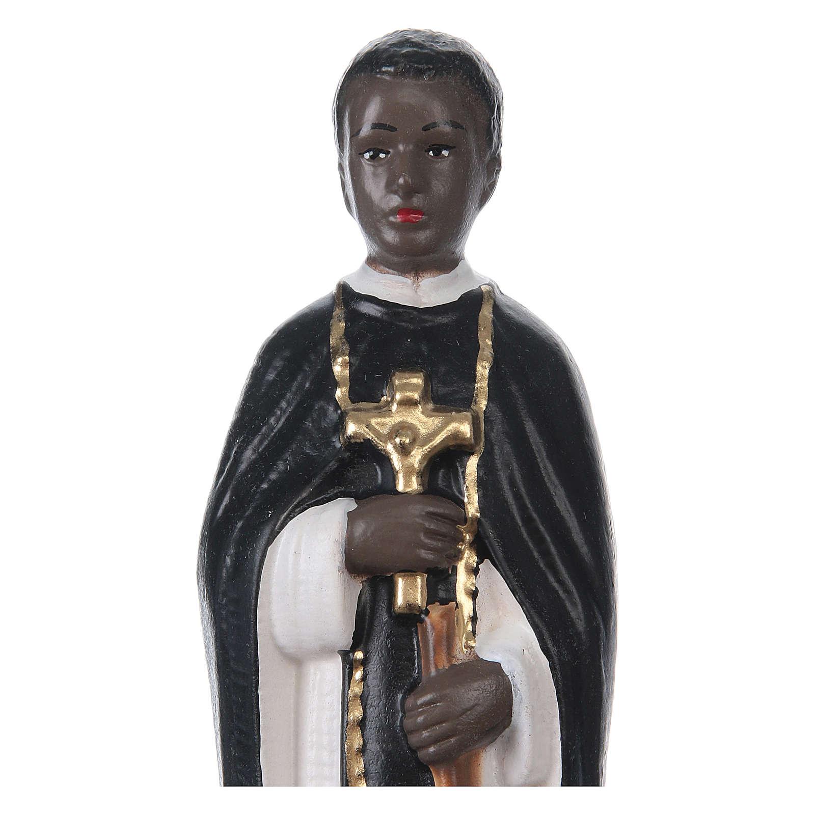 Statua in gesso dipinto San Martino di Porres 20 cm 4