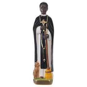 Statua in gesso dipinto San Martino di Porres 20 cm s1