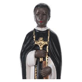 Statua in gesso dipinto San Martino di Porres 20 cm s2