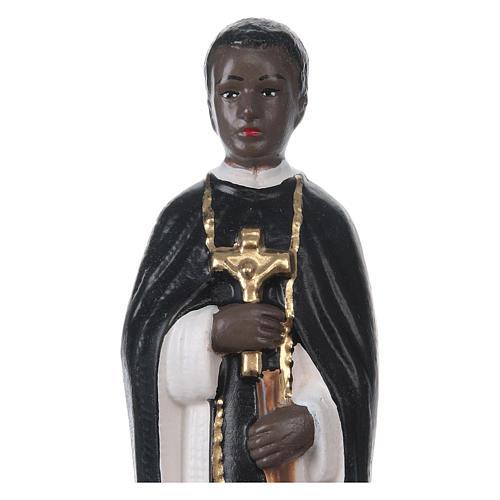 Statua in gesso dipinto San Martino di Porres 20 cm 2