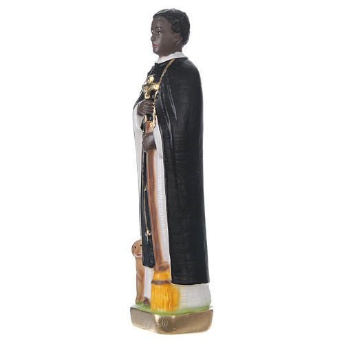 Statua in gesso dipinto San Martino di Porres 20 cm 3