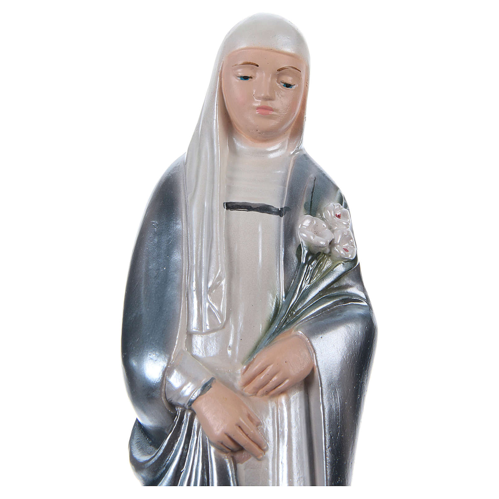 Statua gesso madreperlato Santa Caterina da Siena 20 cm 4