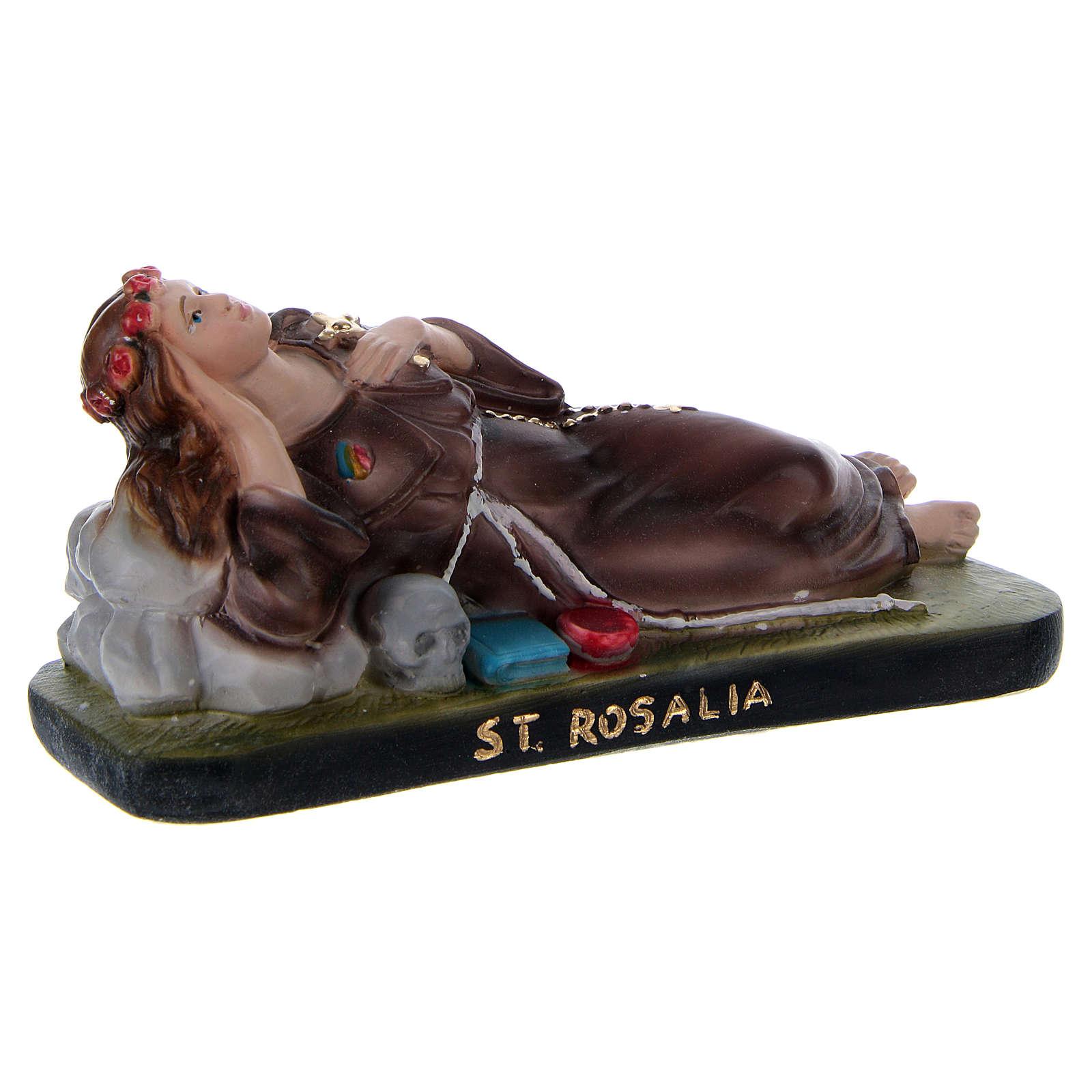 Santa Rosália deitada 10x15x5 cm gesso 4