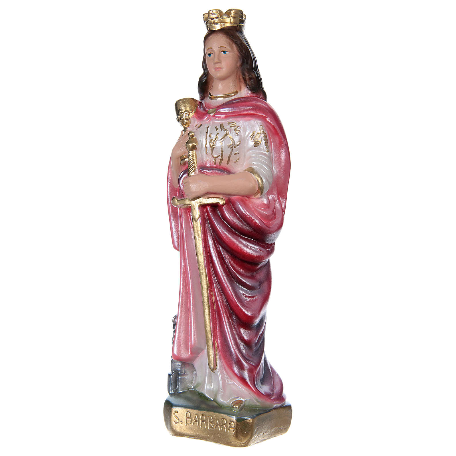 St Barbara 20 cm in mother-of-pearl plaster 4
