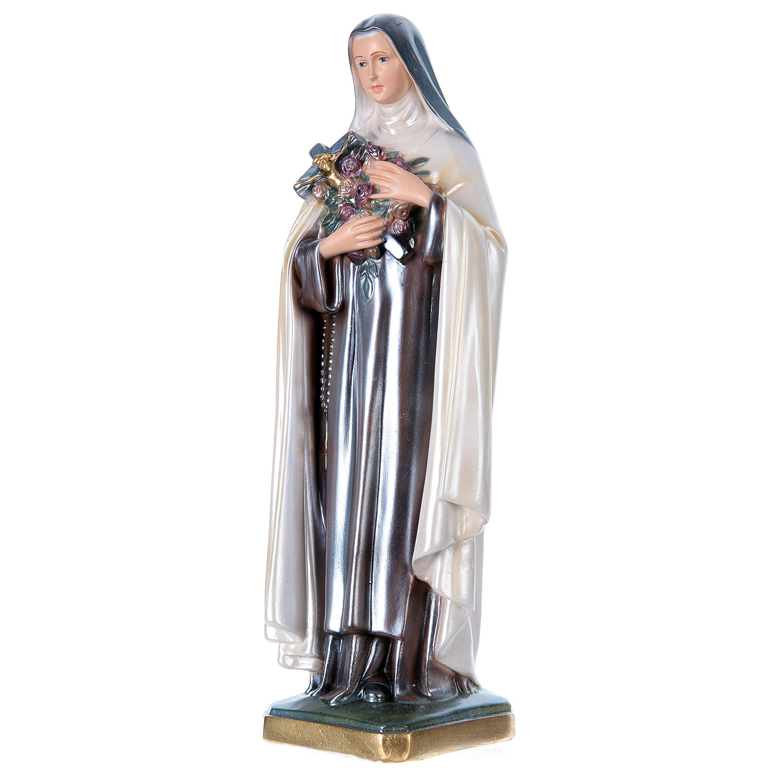 Statue of St. Therese, 40 cm in plaster with mother of pearl 4