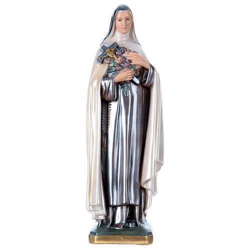 Statue of St. Therese, 40 cm in plaster with mother of pearl 1