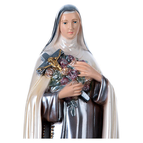 Statue of St. Therese, 40 cm in plaster with mother of pearl 2
