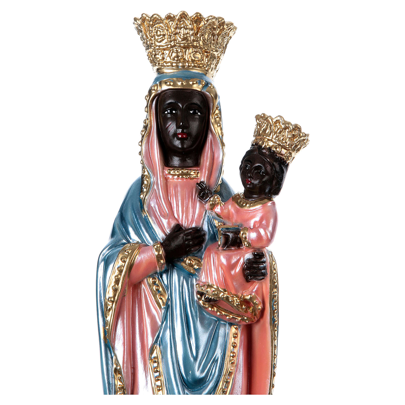 Statue of Our Lady of Czestochowa, 35 cm in plaster with mother of pearl 4