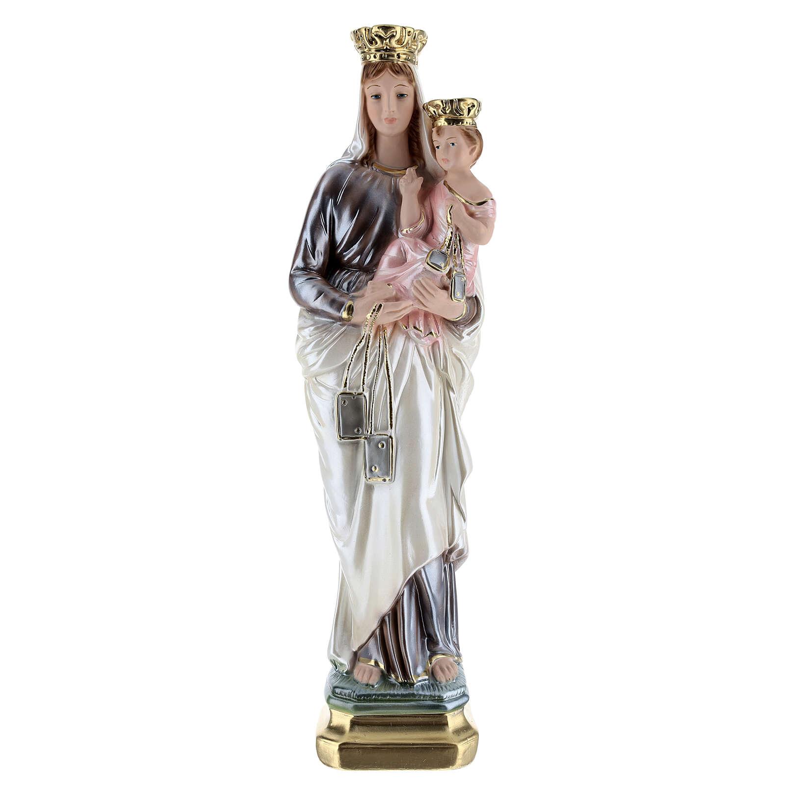 Statua in gesso madreperlato Madonna del Carmelo 40 cm 4