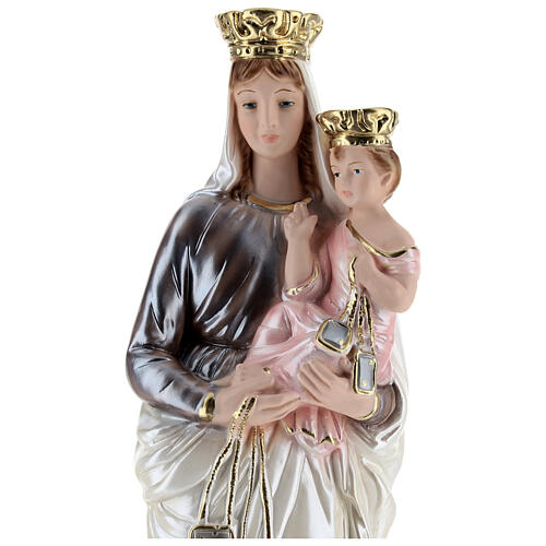 Statua in gesso madreperlato Madonna del Carmelo 40 cm 2