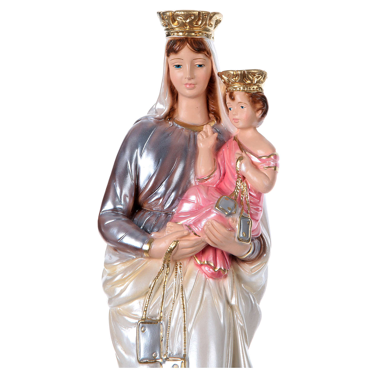 Our Lady of Mt. Carmel 40 cm Statue, in plaster with mother of pearl 4