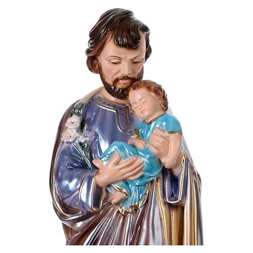 Heiliger Josef mit Kind 40cm perlmuttartigen Gips 2