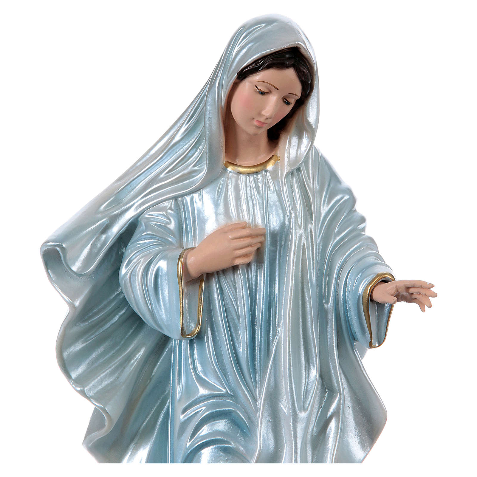 Our Lady of Medjugorje 40 cm in mother-of-pearl plaster 4