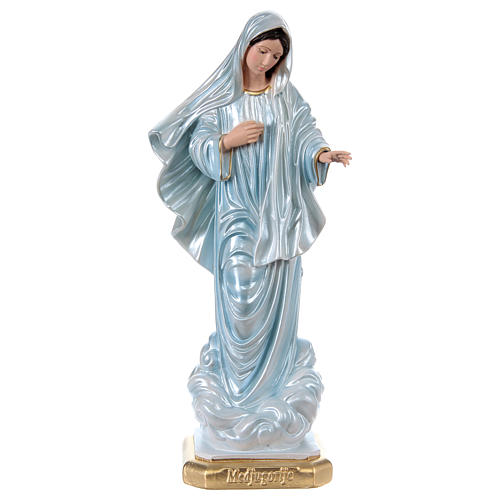 Our Lady of Medjugorje 40 cm in mother-of-pearl plaster 1