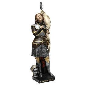 Estatua yeso nacarado Juana De Arco 45 cm s4