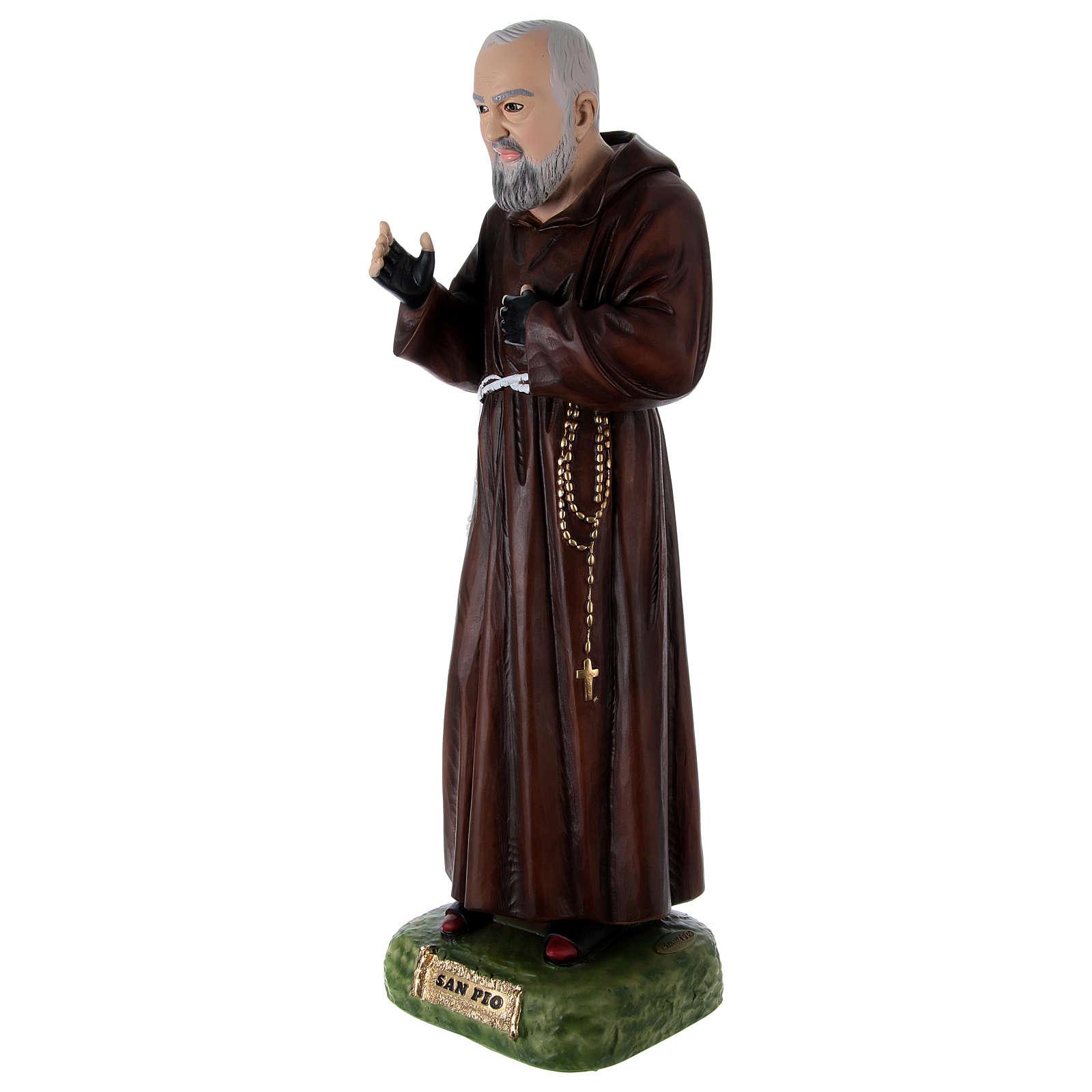São Padre Pio Imagem Pintada Resina e Gesso 95 cm 4