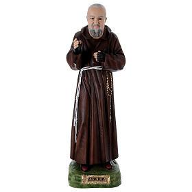São Padre Pio Imagem Pintada Resina e Gesso 95 cm s1