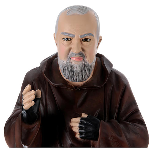São Padre Pio Imagem Pintada Resina e Gesso 95 cm 2